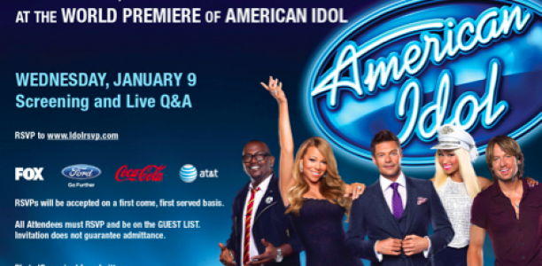 Attend the World Premiere Screening Party of #AmericanIdol Jan. 9th! Talk to Mariah, Nicki, Randy, Keith and Ryan!