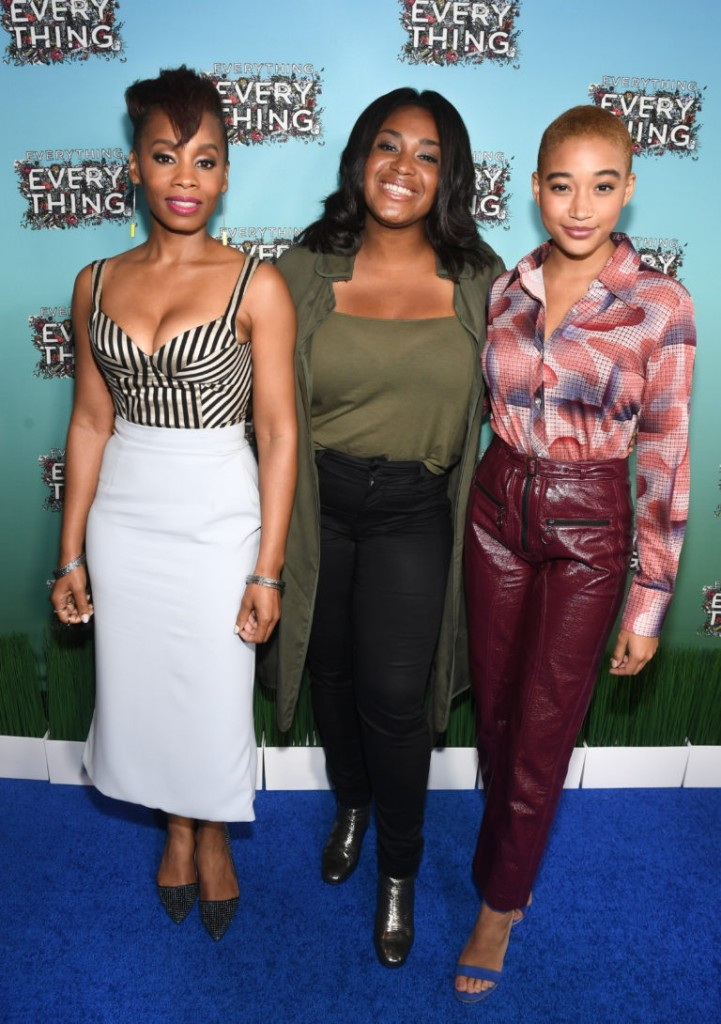 "ATLANTA, GA - APRIL 23: (L-R) Actress Anika Noni Rose, director Stella Meghie, and actress Amandla Stenberg attend ""Everything, Everything"" Screening and Brunch at W Hotel Atlanta Midtown on April 23, 2017 in Atlanta, Georgia. (Photo by Paras Griffin/Getty Images for Warner Bros.)"